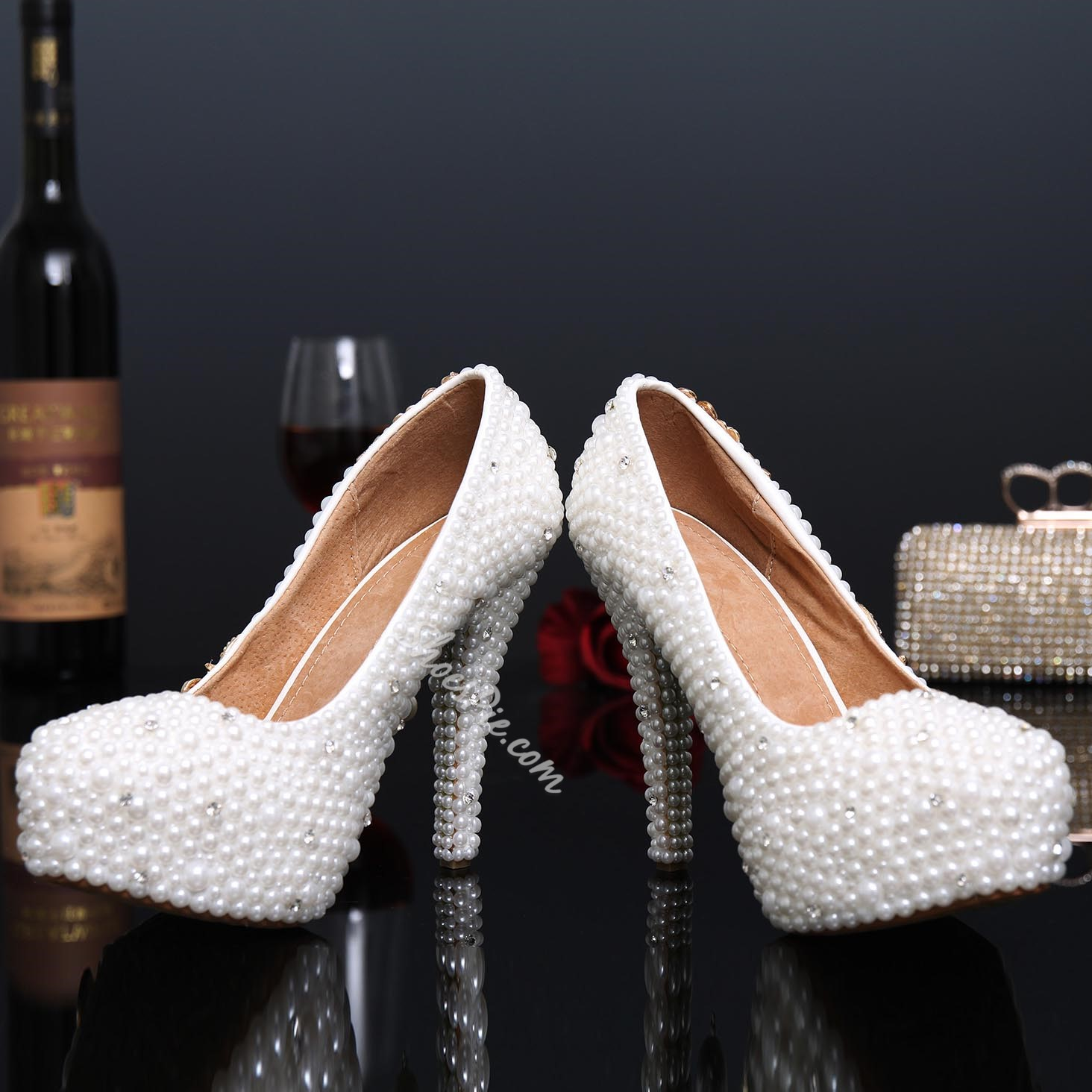 Shoespie White Flower Print Rhinestone Platform Heel Bridal Shoes