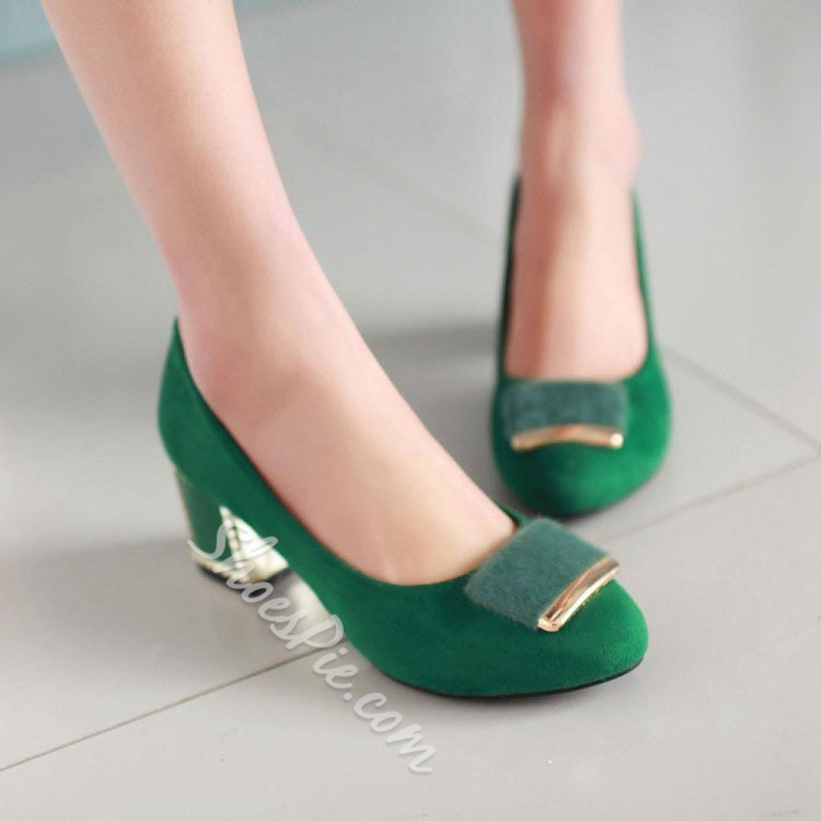 Shoespie Contrast Color Chunky Low Heels