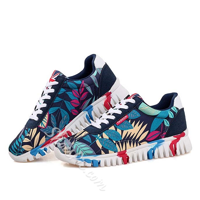 Shoespie Color Painted Round Toe Men Sneakers