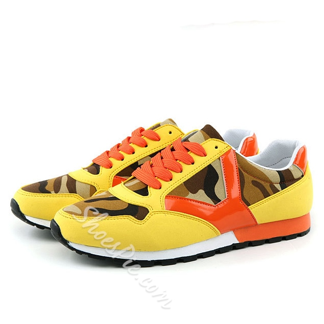 Shoespie Contrast Color Round Toe Men Sneakers