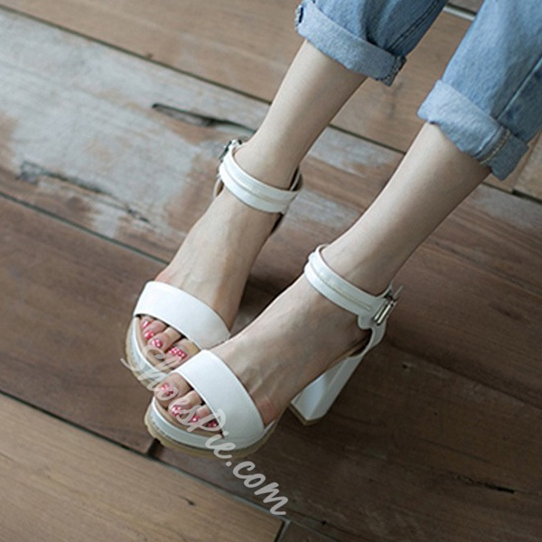 Shoespie White Color Chunky Heel Sandals
