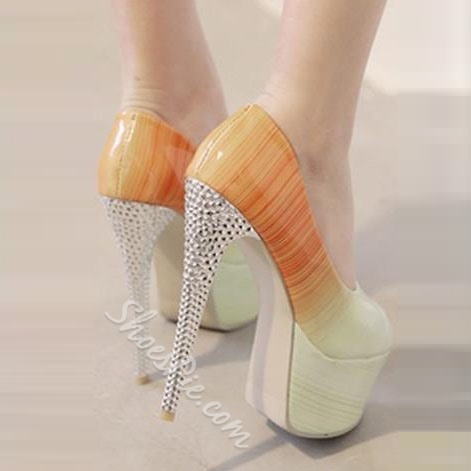 Shoespie Gradually Changing Color Peep Toe Rhinestone Platform Heels