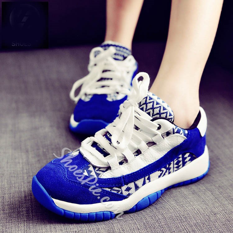 Shoespie Patchwork Lace Up Sneakers