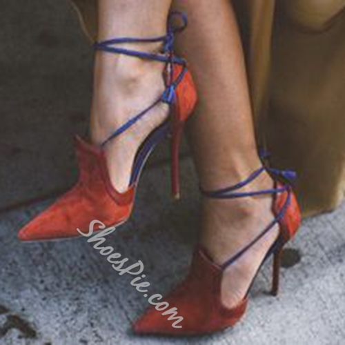 Shoespie Pointed Toe Cross Lace Up Dress Sandals
