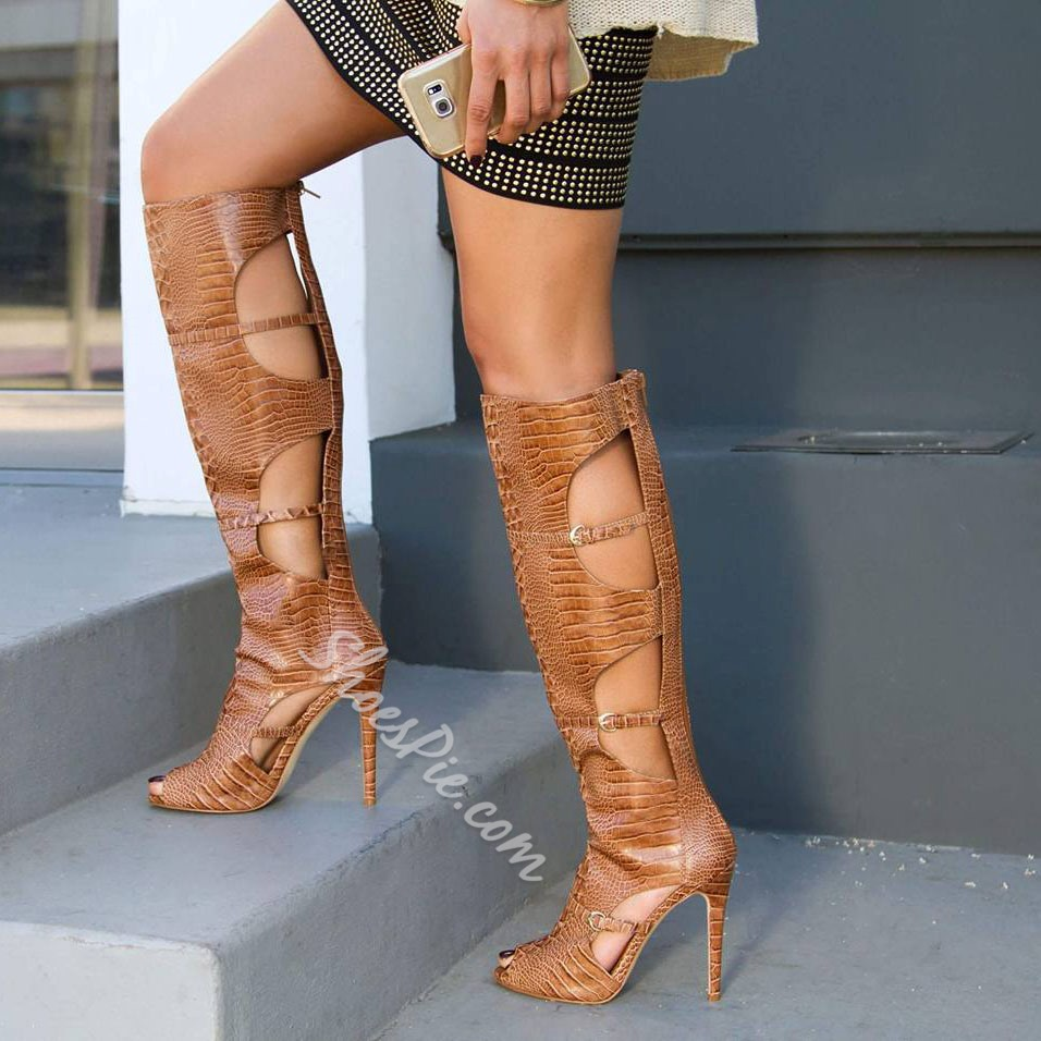 662e2f1287b Shoespie Caged Brown Stiletto Heel Knee High Boots- Shoespie.com