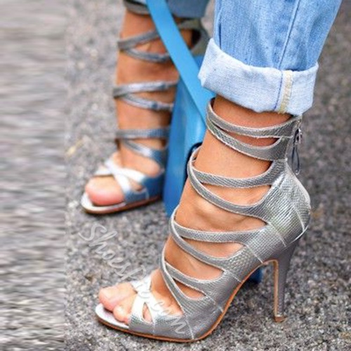 Shoespie Gray Color Caged Sandal Boots