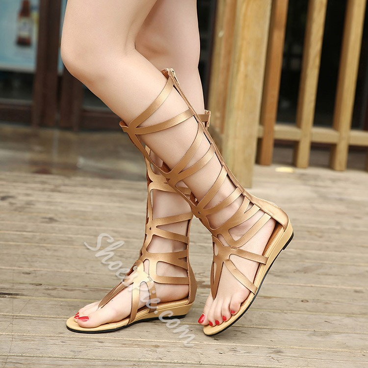 Shoespie Geometric Caged Gladiator Sandals