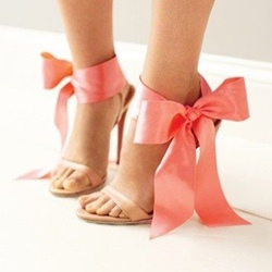 Shoespie Pink Ribbon Ankle Wrap Bowtie Dress Sandals
