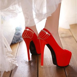 Shoespie Red Chain Deco Platform Bridal Shoes