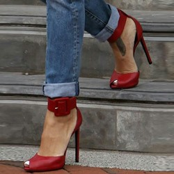 Shoespie Dark Red Peep Toe Ankle Wrap Stiletto Heels