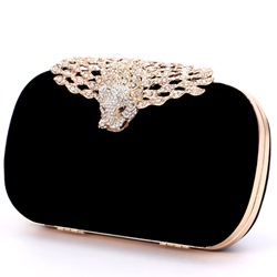 Shoespie Unique Jewelled Leopard Black Clutch with Chain