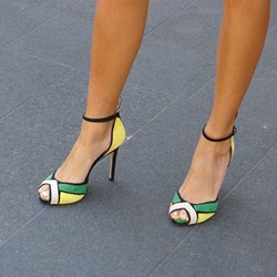 Shoespie Color Block Single Narrow Strappy Dress Sandals