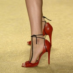 Shoespie Red Peep Toe Lace Up Stiletto Heels