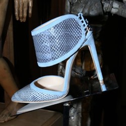 Shoespie Blue Cut Out Ankle Wrap Stiletto Heels