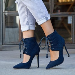 Shoespie Blue Lace Up Stiletto Heel Ankle Boots
