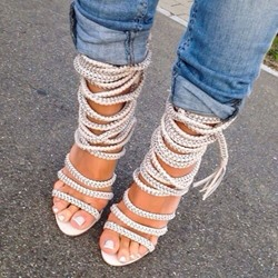 Shoespie Hobo Weaven Wrap Up Sandals