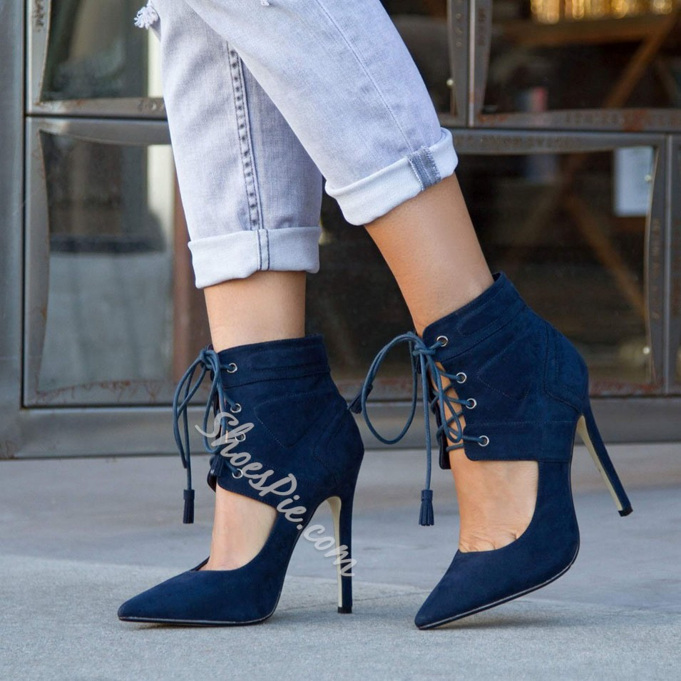 Shoespie Blue Lace Up Stiletto Heel Ankle Boots Shoespie