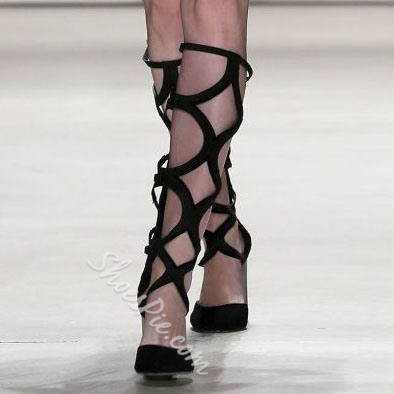 Shoespie Runway Caged Knee High Boots