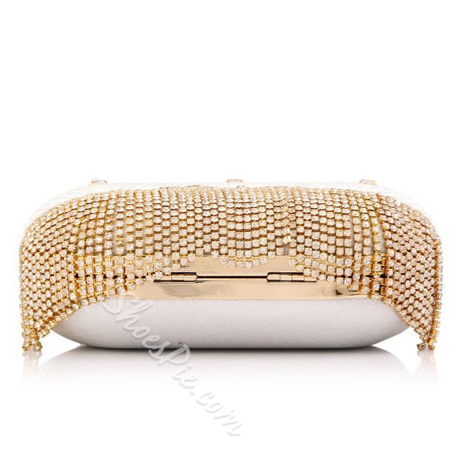 Shoespie Jewelled Tassels Clutch With Chain