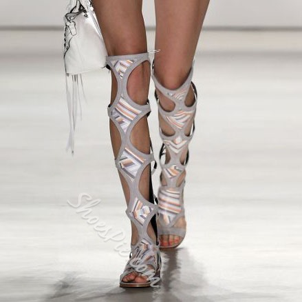 Shoespie Open Toe Cage Knee High Boots