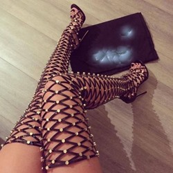 Shoespie Cut Out Over Knee High Gladiator Sandals