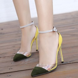 Shoespie Elegant Patchwork Ankle Wrap Stiletto Heels