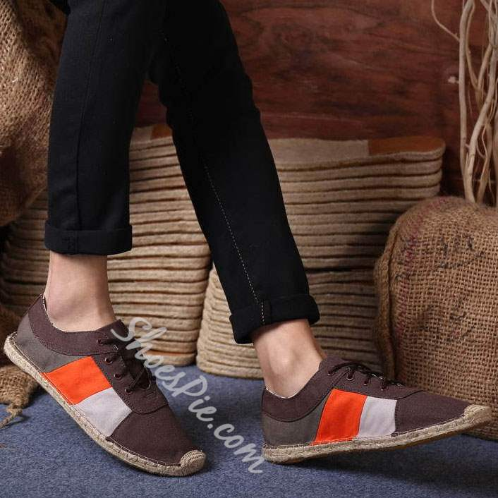 Shoespie Color Block Straw Welting Lace Up Men's Loafers