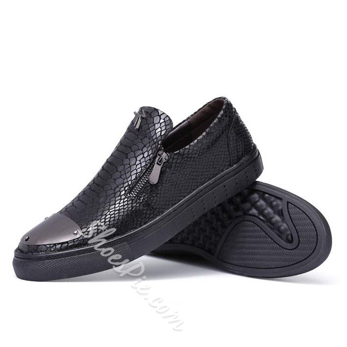 Shoespie Crocodile Skin Patterns Metal Decorated Men's Loafers