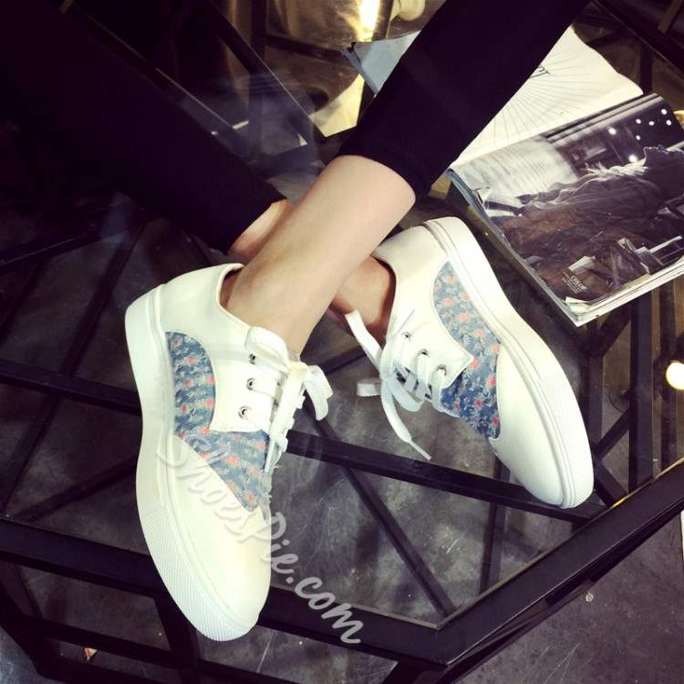 Shoespie Demin Patchwork Lace Up Sneakers