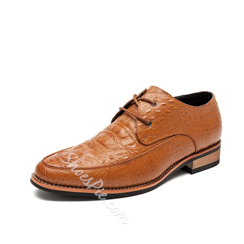 Shoespie Embossed Lace Up Men's Shoes