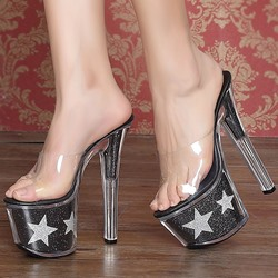 Shoespie Transparent Upper Star Print Platform Slipper Sandals