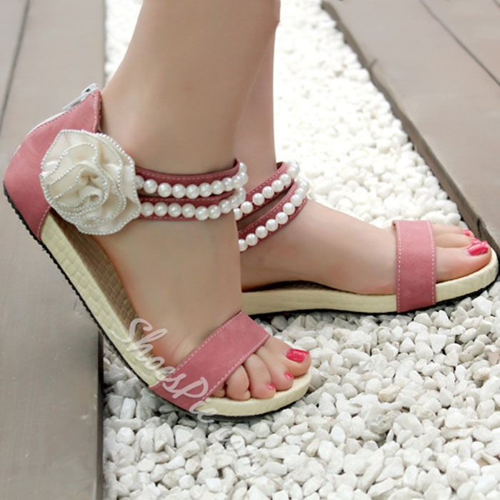 Shoespie Pearl Ankle Wrap Flower Attached Flat Sandals