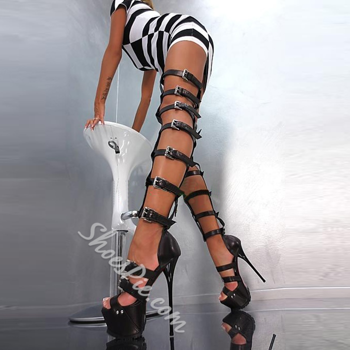 Thigh High Gladiator Sandals - Shoespie.com
