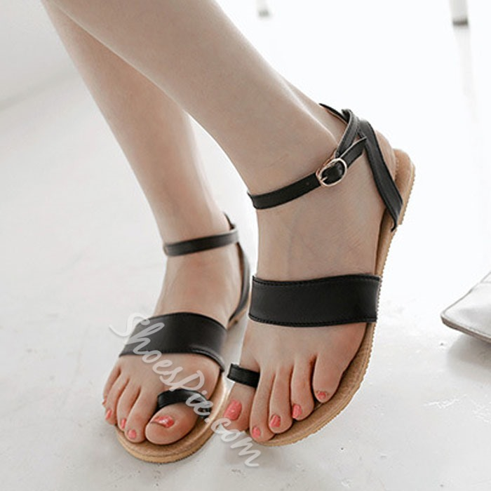Shoespie Solid Color Toe Sandals