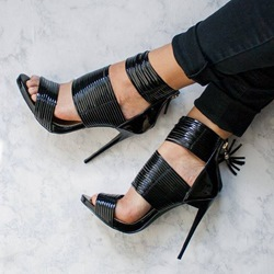 Shoespie Leather Black Color Wide Strap Dress Sandals
