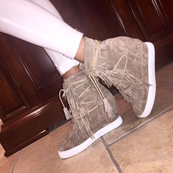 Shoespie Suede Tassels Lace Up Elevated Sneakers