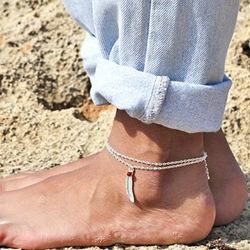 Shoespie Feather Metal Anklets