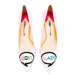 Shoespie Pink Letter Print Stiletto Heels