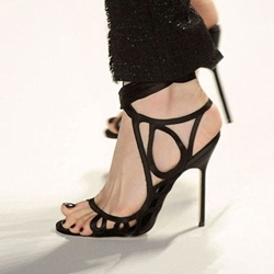 Shoespie Black Color Designer Unique Cutout Dress Sandals