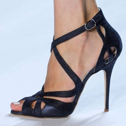 Shoespie Decent Black Cutout Dress Sandals