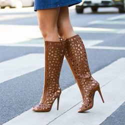 Shoespie Brown Cage Peep Toe Stiletto Heel Knee High Boots