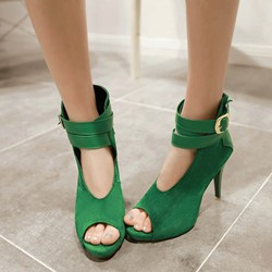 Shoespie Peep Toe Ankle Wrap Stiletto Heel Ankle Boots