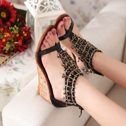 Shoespie Beading T Strap Sandals