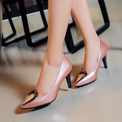 Shoespie Arch Metal Deco Pointed Toe Low Heels