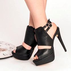 Shoespie Black Color Duo Buckle Strap Platform Dress Sandals