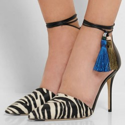 Shoespie Zebra Pointed Toe Ankle Strappy Stiletto Heels