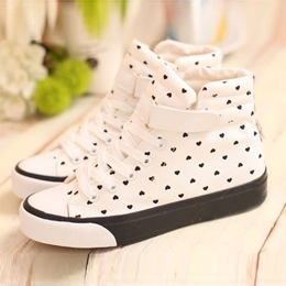 Shoespie Cute Heart Shape Print Canvas Shoes