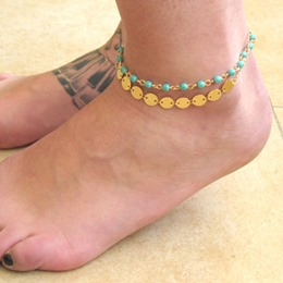 Shoespie Green Beads and Metals Anklets
