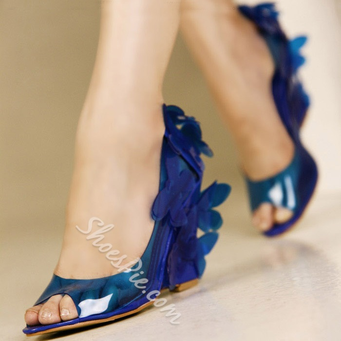 Shoespie Sweet Transparent Upper Flower Attached Wedge Sandals