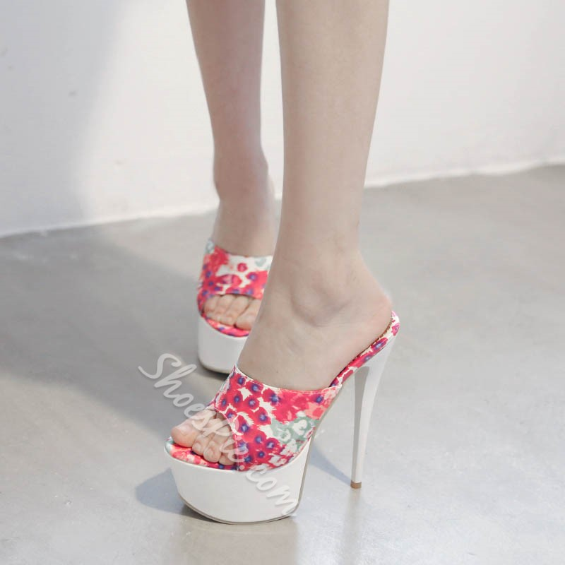 Shoespie Flower Print Platform Slipper Sandals